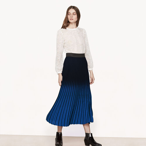 Falda plisada larga con teñido anudado - Faldas y shorts - MAJE