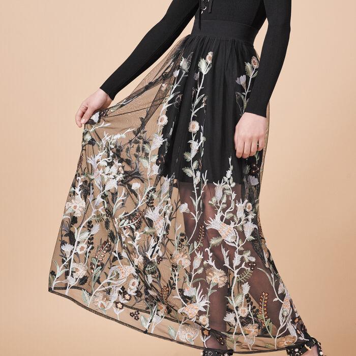 Falda larga con bordados - Faldas y shorts - MAJE