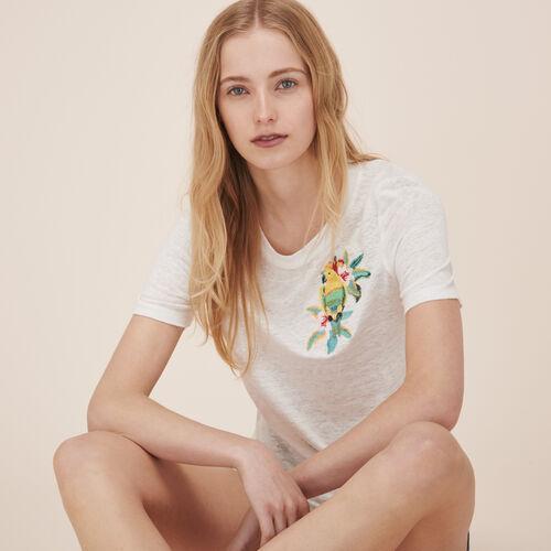 Camiseta de lino con bordado - Tops - MAJE