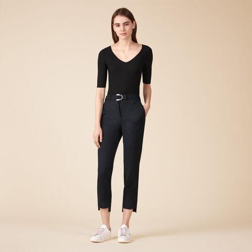 Pantalón sastre a rayas de tenis - Pantalones - MAJE