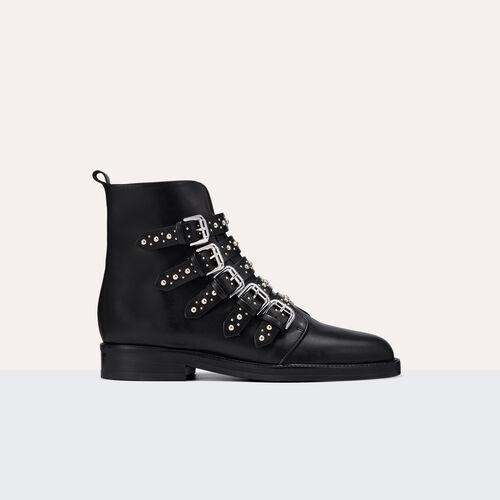 Botín de piel con tachuelas - Zapatos - MAJE