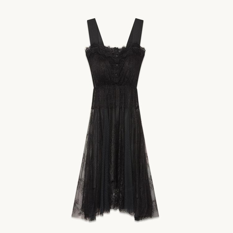 Vestido largo de encaje y plumetis - Vestidos - MAJE