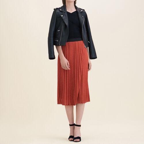 Falda plisada de punto de lúrex - Faldas y shorts - MAJE