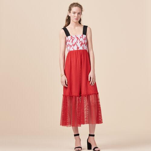 Vestido largo con mezcla de géneros - Vestidos - MAJE