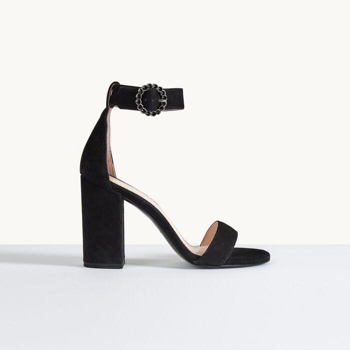 Sandalia de ante con tacón - Zapatos - MAJE