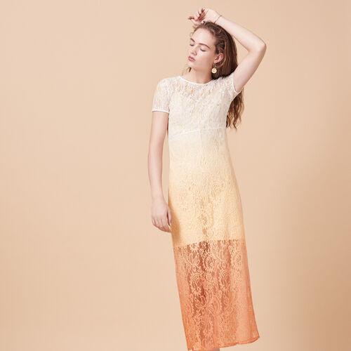 Vestido largo de encaje teñido anudado - Vestidos - MAJE