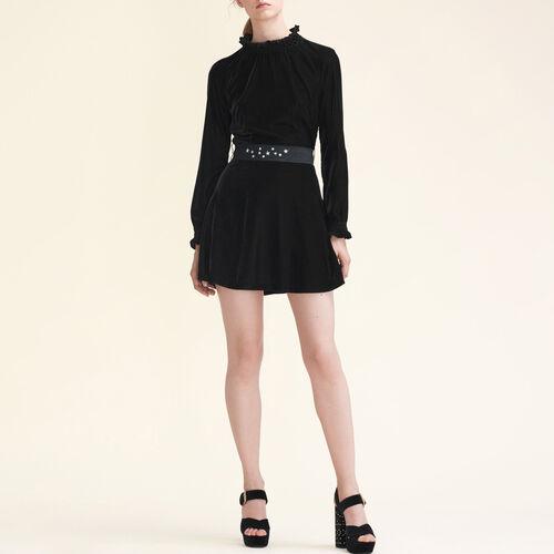 Vestido de terciopelo con cinturón - Novedades - MAJE