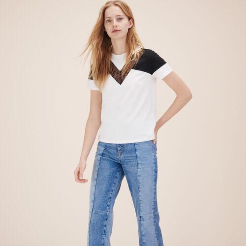 Camiseta con encaje - Tops - MAJE