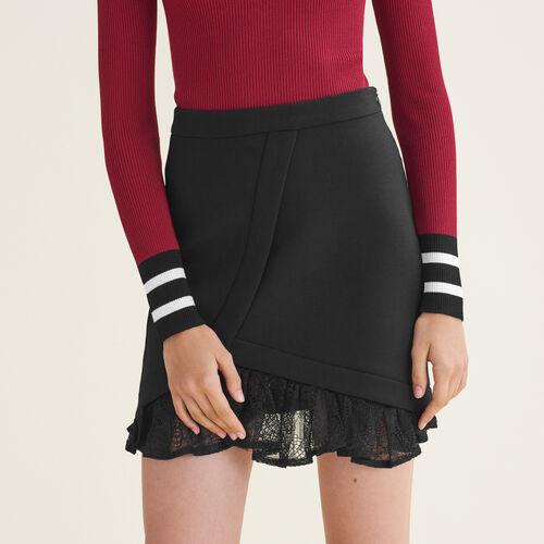 Falda asimétrica con detalles de encaje - Faldas y shorts - MAJE