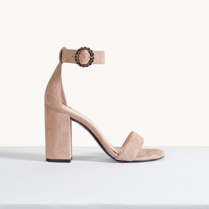 Sandalia de ante con tacón -  - MAJE