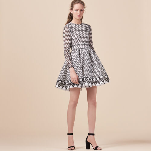 Vestido de patinadora de encaje - Vestidos - MAJE
