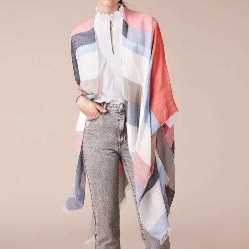 Poncho ligero con estampado gráfico - Pañuelos y Bufandas - MAJE