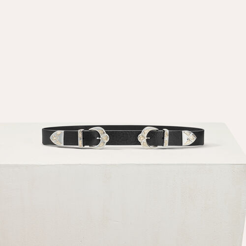 Cinturón piel doble hebilla festoneada - Cinturones - MAJE