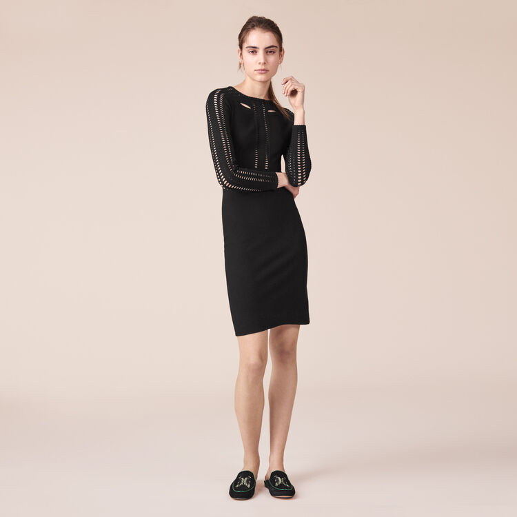 Vestido tubo de punto calado - Vestidos - MAJE