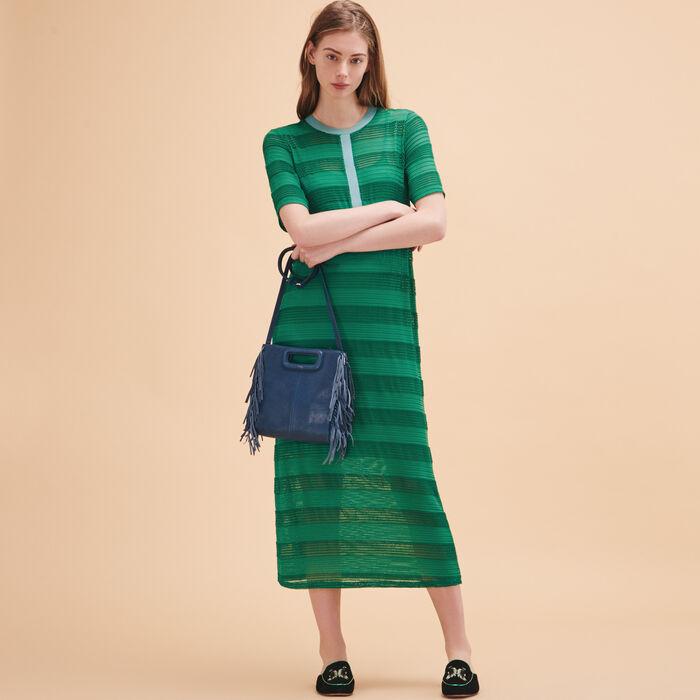 Vestido largo con cordón tejido - Vestidos - MAJE