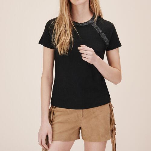 Camiseta de lino con detalle de lúrex - Tops - MAJE