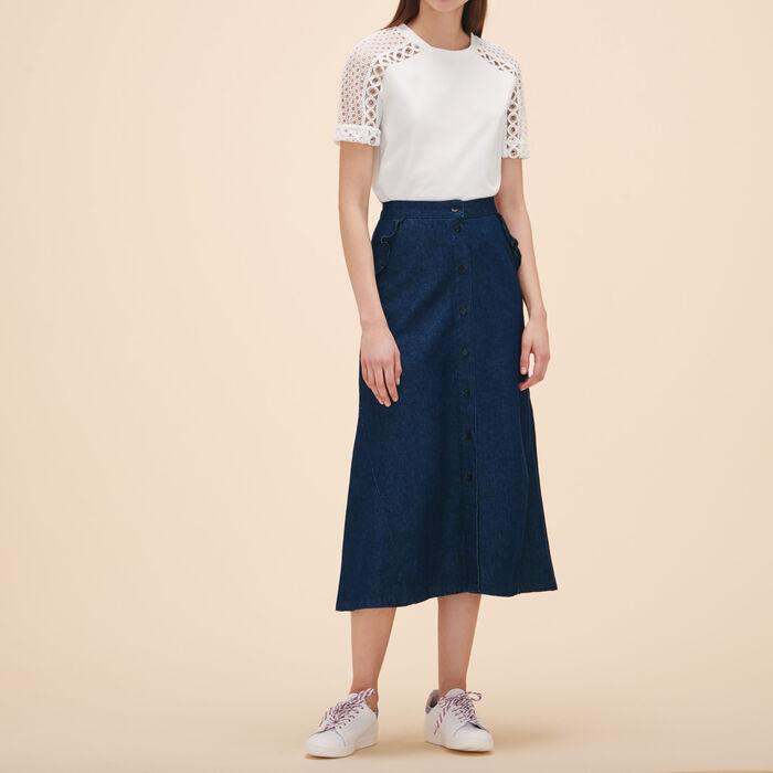 Camiseta bordada con ojales - Tops - MAJE