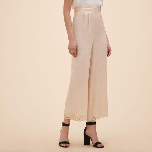 Pantalón ancho de jacquard de satén - Pantalones - MAJE