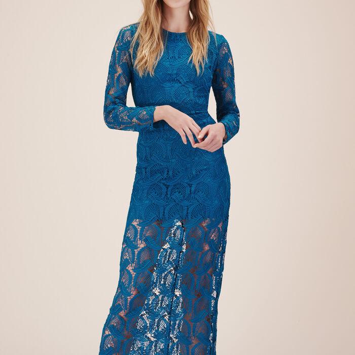 Vestido largo de encaje de fantasía - Vestidos - MAJE