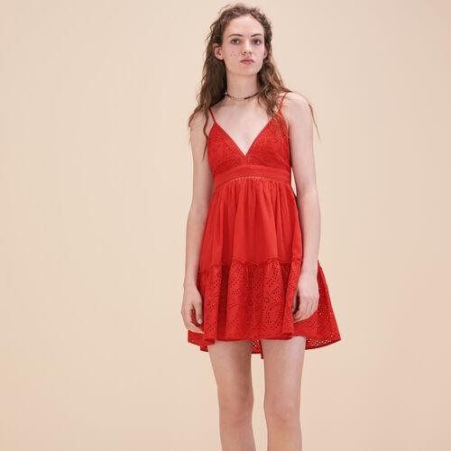 Vestido de tirantes finos con bordado - Vestidos - MAJE