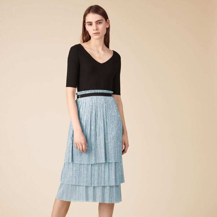 Falda largo medio efecto plisado lúrex -  - MAJE