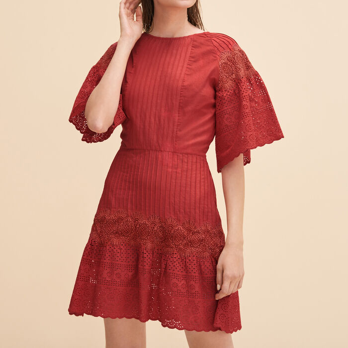 Vestido bordado con guipur - Vestidos - MAJE