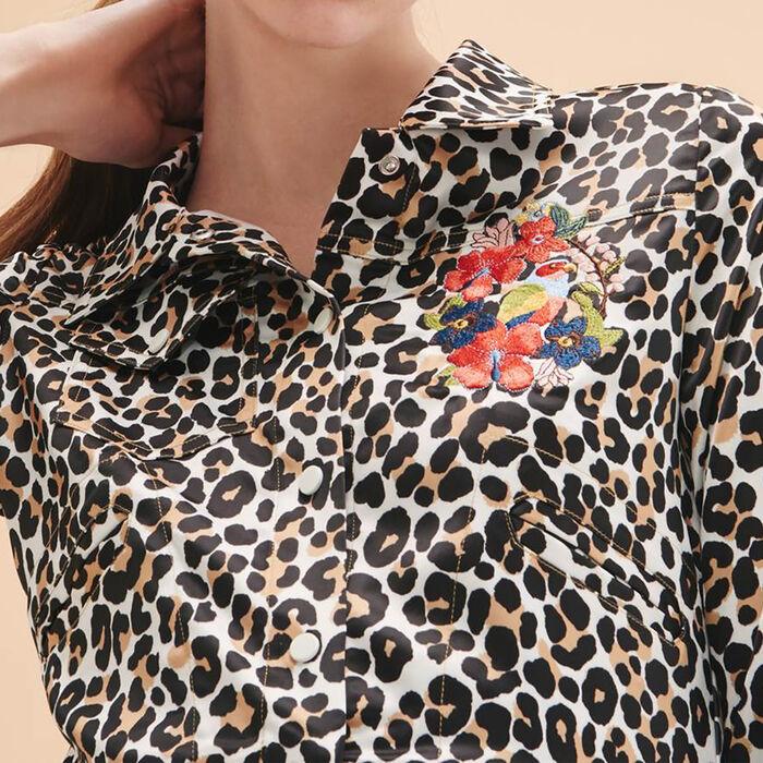 Chaqueta corta con estampado de leopardo -  - MAJE