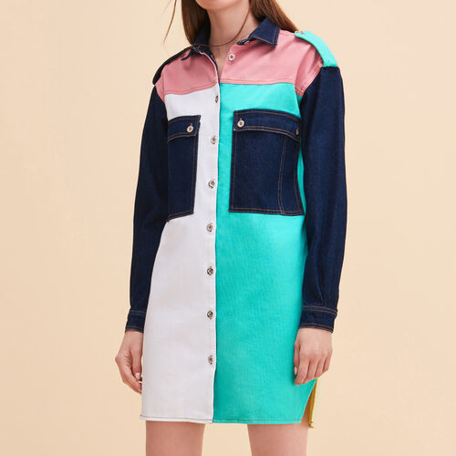 Vestido camisero de denim multicolor - Vestidos - MAJE