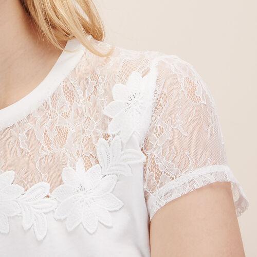 Camiseta con encaje y bordado - Tops - MAJE