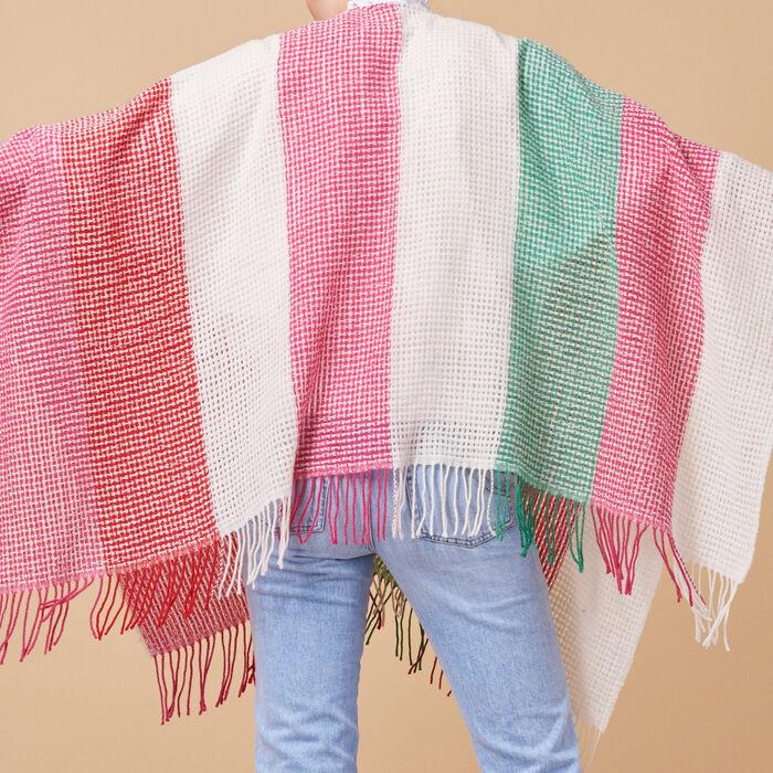 Poncho de mezcla de lana a rayas - Pañuelos y Bufandas - MAJE