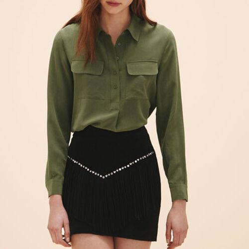 Falda con gamuza de terciopelo - Faldas y shorts - MAJE