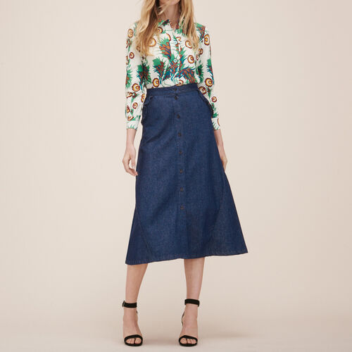 Falda vaquera de largo medio - Faldas y shorts - MAJE