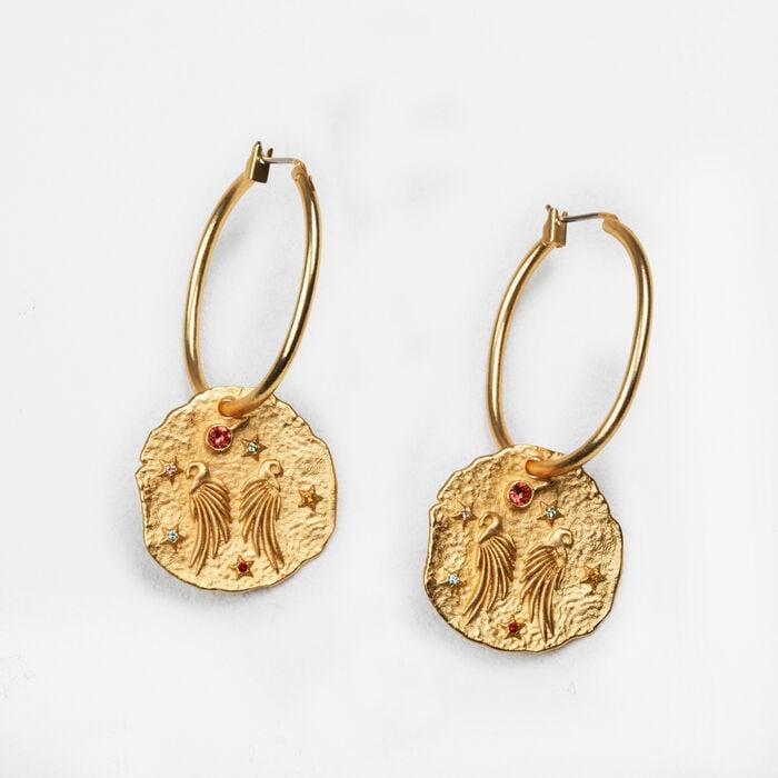 Pendientes con medalla martillada - Bisuteria - MAJE