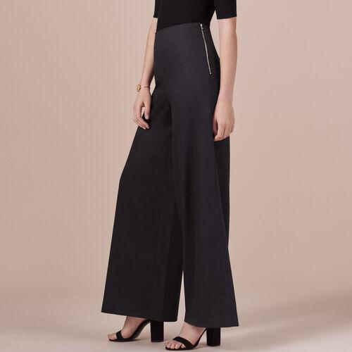 Pantalón ancho de tela - Pantalones - MAJE