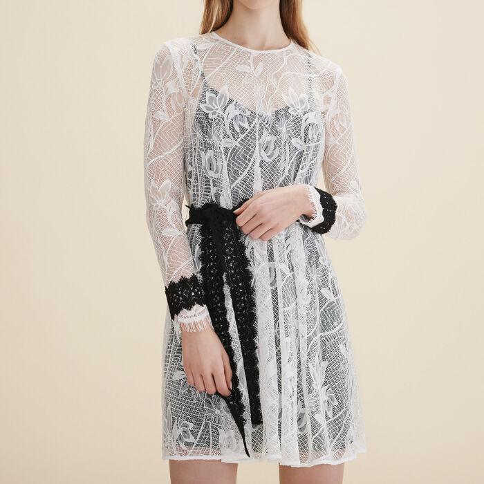 Vestido corto de encaje - Vestidos - MAJE