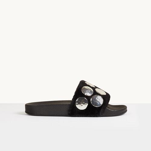 Chinela de ante con piezas - Zapatos - MAJE