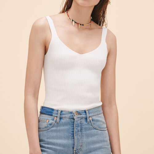 Camiseta sin mangas de punto de canalé - Malla - MAJE