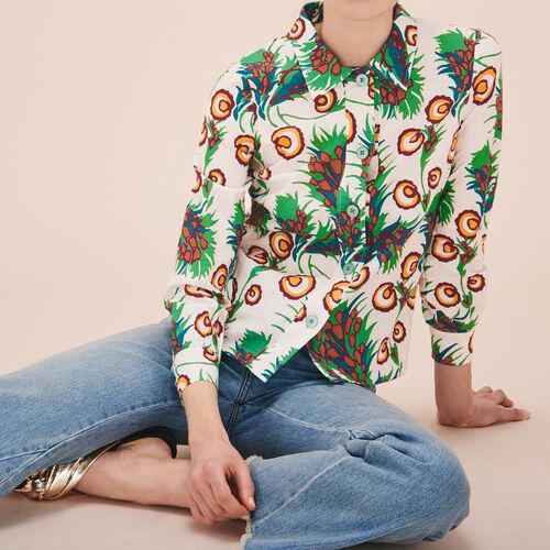 Camisa de lino y seda estampada - Tops - MAJE