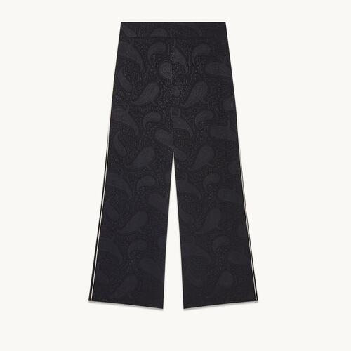 Pantalón ancho con estampado brocado - Pantalones - MAJE