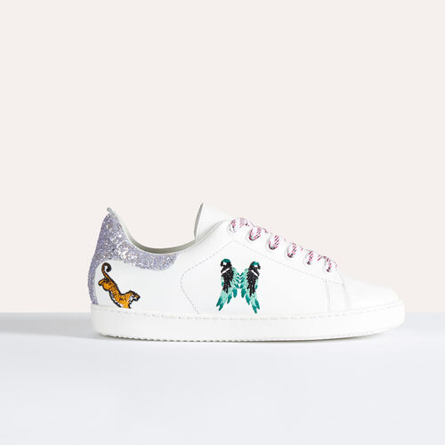 Zapatilla deportiva de piel con bordados - Zapatos - MAJE