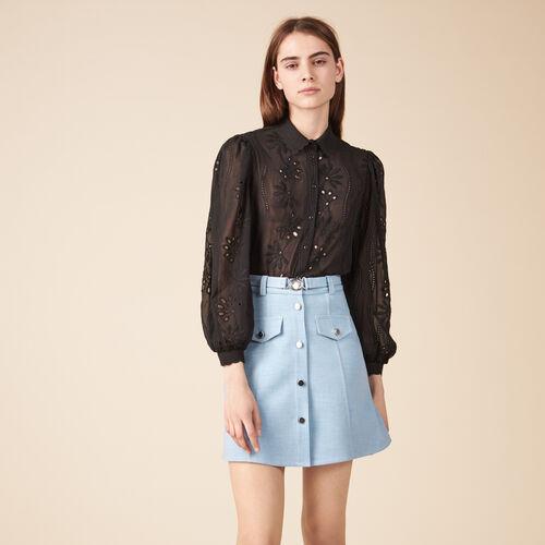 Falda trapecio con cinturón - Faldas y shorts - MAJE