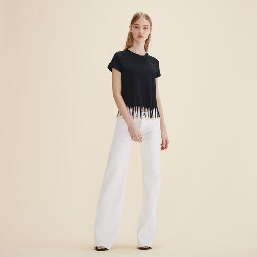 Camiseta con flecos de perlas - Tops - MAJE