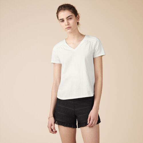 Camiseta de algodón con detalles - Tops - MAJE