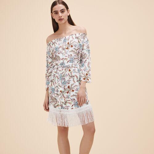 Vestido estampado con flecos - Vestidos - MAJE