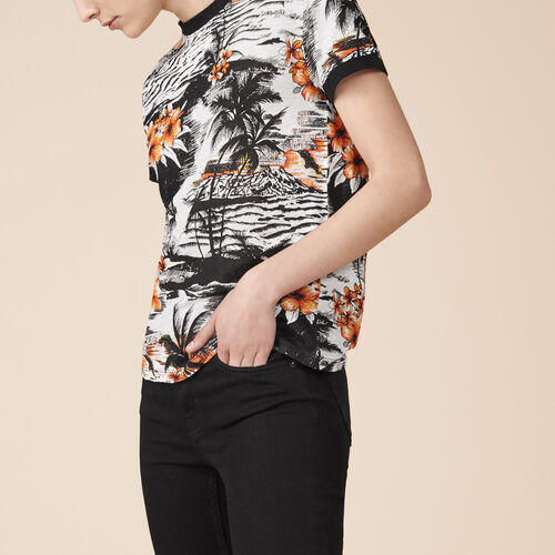 Camiseta estampada de lino - Tops - MAJE