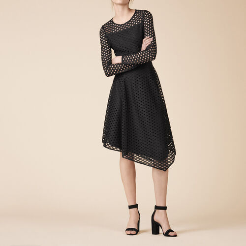 Vestido largo asimétrico de encaje - Vestidos - MAJE