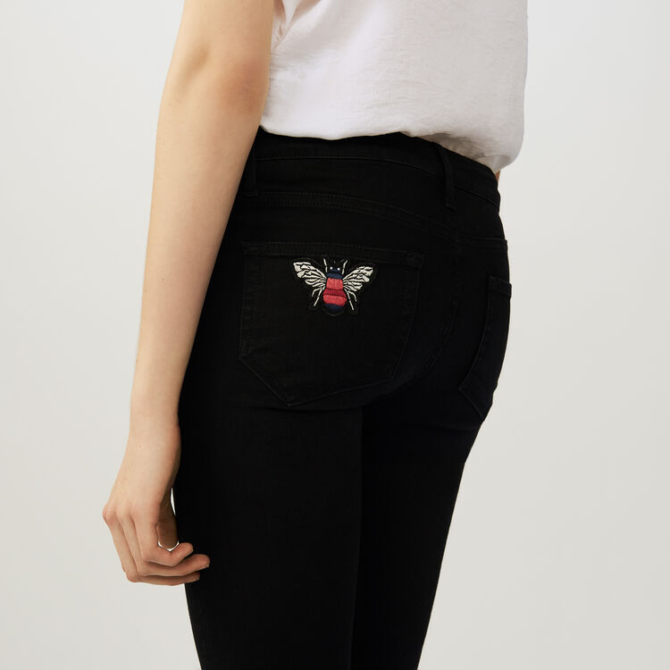 Jean slim 7/8 con bordado : Jeans color Negro