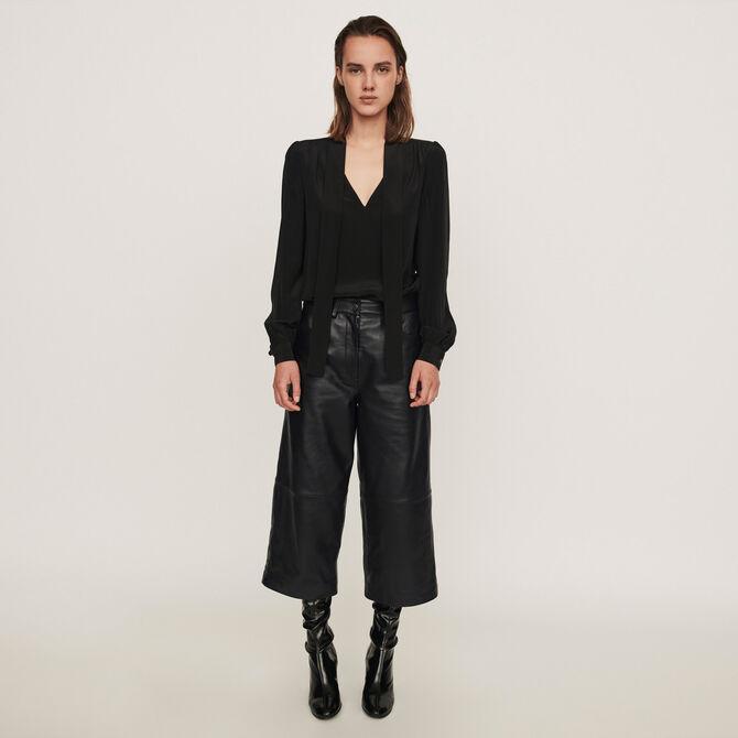 Pantalón de cuero tipo bermuda - staff private sale 20 - MAJE