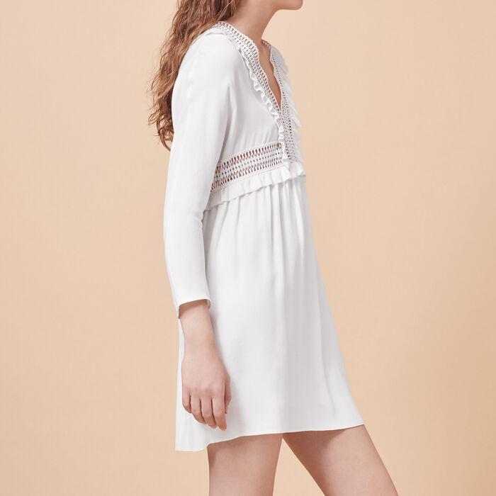 Vestido de crepé con detalles calados -  - MAJE