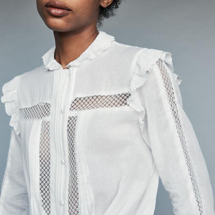 Blusa de gasa de algodón : Prêt-à-porter color Blanco